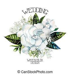 Watercolor gardenia and gypsophila vignette isolated on ...