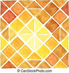 Watercolor geometric rhombus seamless pattern. Brown, Yellow...