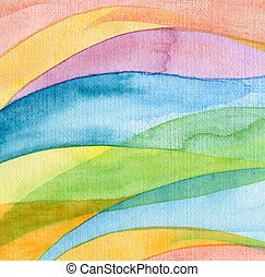 watercolor, geverfde, abstract, achtergrond, golf