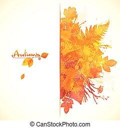 watercolor, geverfde, herfst, ontwerp, gebladerte, spandoek, rood