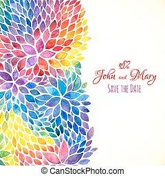 watercolor, geverfde, regenboog kleurt, uitnodiging, mal