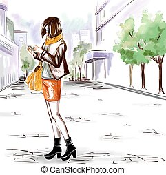Watercolor girl on the city street - Young stylish girl with...