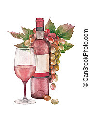 Watercolor glass of rose wine, bottle and bunch of white and red grapes