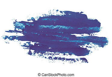 Watercolor, gouache paint. Blue Abstract stains splatter...