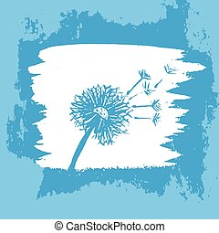 Watercolor graphic dandelion. Vector