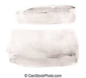 Watercolor grays blank rounded rectangle shape on white background