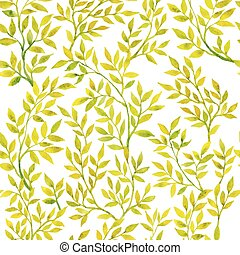 Watercolor branches and leaves green. Vector seamless pattern.