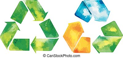 watercolor green recycle icon and watercolore recycled water icon.