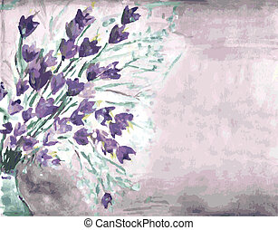 Watercolor grunge background with bells