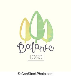Watercolor hand drawing with abstract green leaves. Wellness and alternative medicine. Original vector logo design for self development center or yoga class