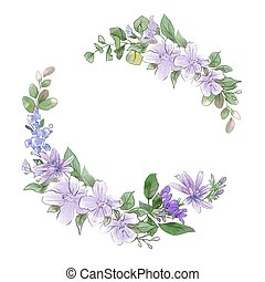 Watercolor hand drawing wreath of spring delicate flowers
