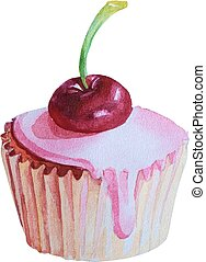 Watercolor Hand Drawn Cupcake with cherry. Vector Illustration