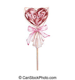 Watercolor hand drawn dessert chocolate heart on a stick