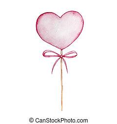 Watercolor hand drawn dessert, sweet pink heart on a stick