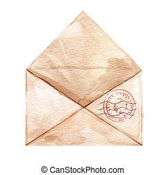 Watercolor hand drawn envelop - Beautiful composition with...