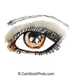 Watercolor hand drawn eye. Make up.