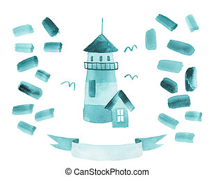 Watercolor hand drawn isolated Illustration with a lighthouse.