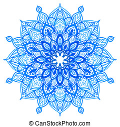 Watercolor hand drawn mandala. - Watercolor hand drawn blue...
