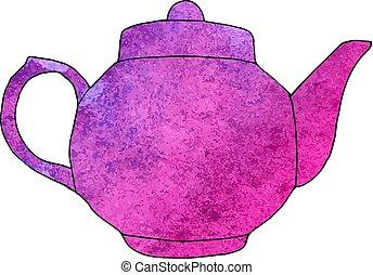 Watercolor hand drawn teapot. Vector illustration