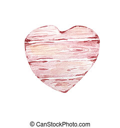 Watercolor hand drawn wooden plank in the shape of a heart