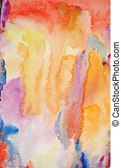 Watercolor hand painted art background for scrapbooking