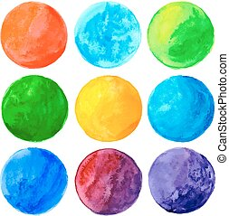 Watercolor hand painted circle shape design elements. Vector...