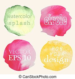 Watercolor hand painted circles for your design. Vector...