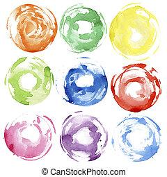 Watercolor hand painted circle shape design elements