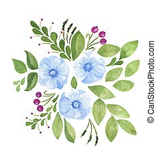 watercolor hand painted flowers with green leaves isolated on white.