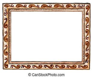 Watercolor hand painted wood carved picture frame isolated on white background