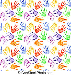 Watercolor hand prints - Colorful watercolor hand prints - ...