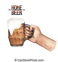 Watercolor hand with mug of beer