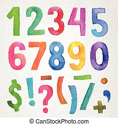 Watercolor handwritten numbers and symbols