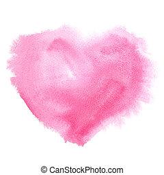 watercolor, hart, rood