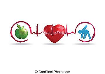 Watercolor healthy living health care symbols