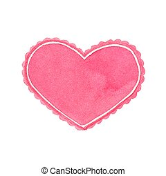 Watercolor heart frame on the white background, aquarelle. Vector illustration.