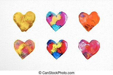 Watercolor heart love set illustration