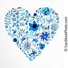 Watercolor heart love shape illustration
