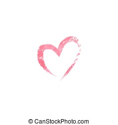 Watercolor heart on white background