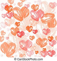 Watercolor heart pattern . Valentine's day background