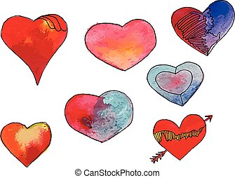 Watercolor heart set