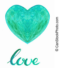 Watercolor heart with handlettering love underneath