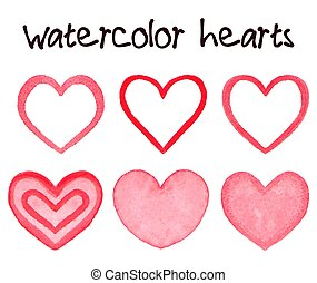 Watercolor hearts banner hand painted with water color ink