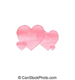 Watercolor hearts on white background.