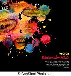 watercolor, helder, blots, mal