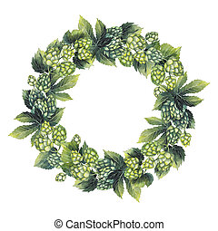 Watercolor hop wreath isolated on white background. Hand...
