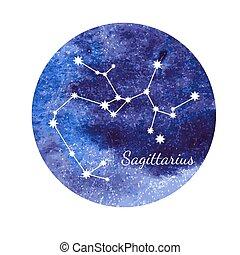Watercolor horoscope sign Sagittarius
