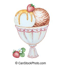 Watercolor vanilla and chocolate ice cream in a ceramic ramekin and strawberries isolated on white background. Vector illustration for your design.
