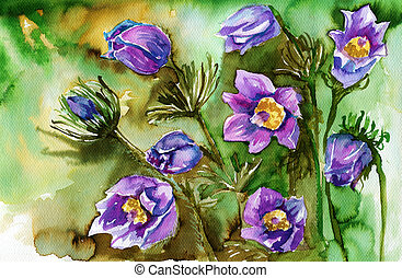 watercolor illustration depicting spring flowers in the...