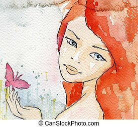 sensitive girl - watercolor illustration of a beautiful, ...